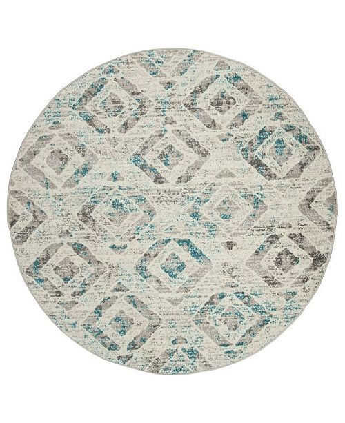 "Safavieh Skyler Ivory and Blue 6'7"" x 6'7"" Round Area Rug"