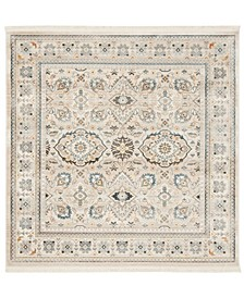 Vintage Persian Ivory and Light Gray 5' x 5' Square Area Rug