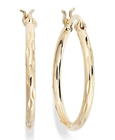 "Small Diamond-Cut Hoop Earrings in 18k Gold over Sterling Silver, 1"", Created for Macy's"