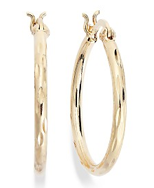 "Giani Bernini Small Diamond-Cut Hoop Earrings in 18k Gold over Sterling Silver, 1"", Created for Macy's"
