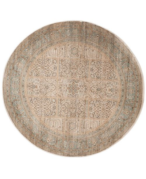 "Safavieh Vintage Ivory and Light Blue 6'7"" x 6'7"" Round Area Rug"