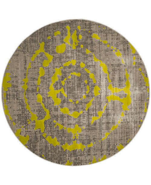 """Safavieh Porcello Light Gray and Green 6'7"""" x 6'7"""" Round Area Rug"""