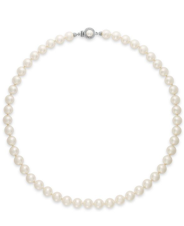 Danori Necklace, Simulation Pearl (8 mm) and Glass Crystal Necklace