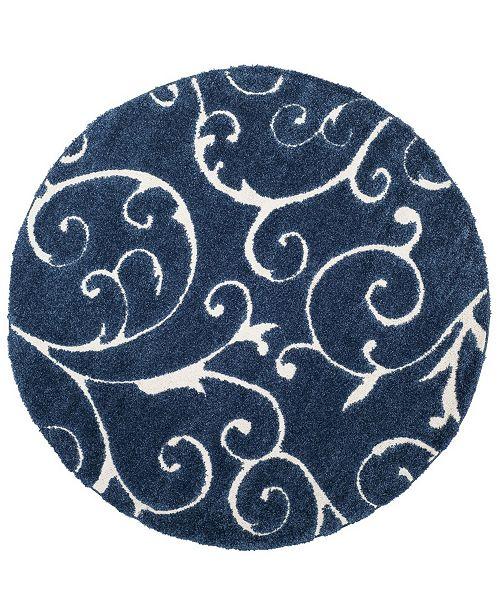"Safavieh Shag Dark Blue and Cream 6'7"" x 6'7"" Round Area Rug"