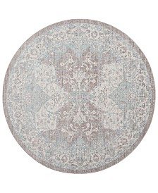 Safavieh Windsor Light Gray and Aqua 6' x 6' Round Area Rug