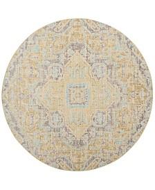 Safavieh Windsor Light Gray and Lime 6' x 6' Round Area Rug
