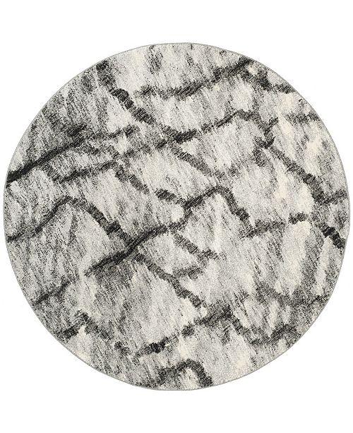 Safavieh Retro Light Gray and Black 6' x 6' Round Area Rug