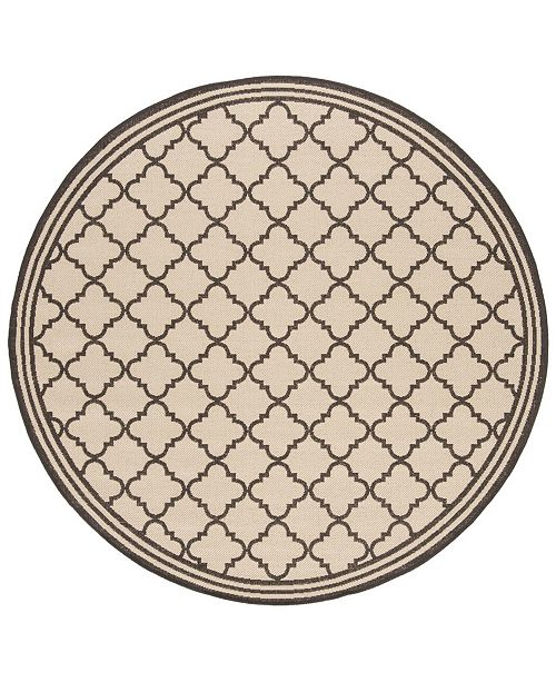 "Safavieh Linden Creme and Brown 6'7"" x 6'7"" Round Area Rug"