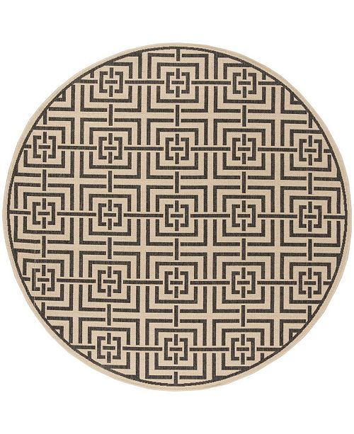 "Safavieh Linden Creme and Black 6'7"" x 6'7"" Round Area Rug"