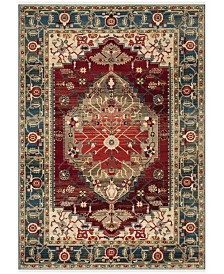 "Safavieh Kashan Blue and Red 5'1"" x 7'5"" Sisal Weave Area Rug"