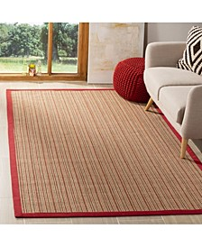 Natural Fiber Brown and Red 5' x 8' Sisal Weave Rug