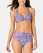 e4fd66c0a34 California Waves Juniors' C'est La Vie Printed Push Up Halter Bikini Top,
