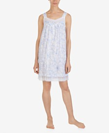 Eileen West Flower-Print Embroidered Netting Cotton Chemise Nightgown