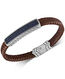 Sapphire Leather Bracelet (1-3/8 ct. t.w.) in Sterling Silver & Black Rhodium-Plate, Created for Macy's