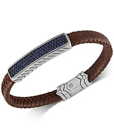 Esquire Men's Jewelry Sapphire Leather Bracelet (1-3/8 ct. t.w.) in Sterling Silver & Black Rhodium-Plate, Created for Macy's