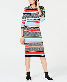 Bar III Striped Sweater Dress, Created for Macy's