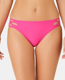California Waves Juniors' Solid Strappy Hipster Bottoms, Created for Macy's