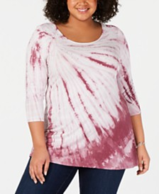 Belldini Plus Size Tie-Dyed Studded Top