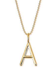 "Sarah Chloe Andi Initial Pendant Necklace in 14k Gold-Plate Over Sterling Silver, 16"" + 2"" extender"