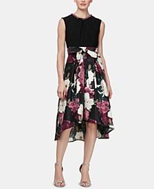 Embellished High-Low Fit & Flare Dress