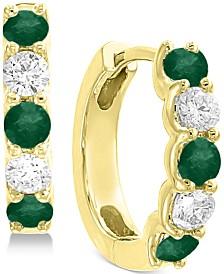 EFFY® Emerald (5/8 ct. t.w.) and Diamond (3/8 ct. t.w.) Hoop Earrings in 14k Gold