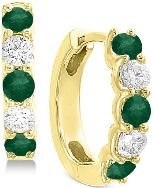 EFFY Collection EFFY® Emerald (5/8 ct. t.w.) and Diamond (3/8 ct. t.w.) Hoop Earrings in 14k Gold