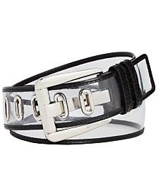 Michael Kors Clear Vinyl & Leather Grommet Belt