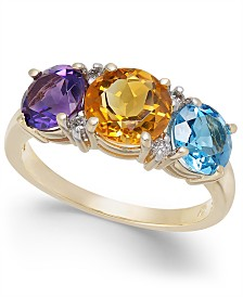 Multi-Gemstone (3-1/5 ct. t.w.) & Diamond Accent Statement Ring in 14k Gold