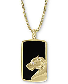 """EFFY® Men's Onyx & Diamond Accent 22"""" Panther Pendant Necklace in 14k Gold"""