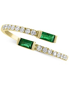 EFFY® Emerald (1/3 ct. t.w.) & Diamond (1/5 ct. t.w.) Bypass Ring in 14k Gold