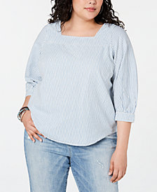 Lucky Brand Plus Size Cotton Striped Square-Neck Top