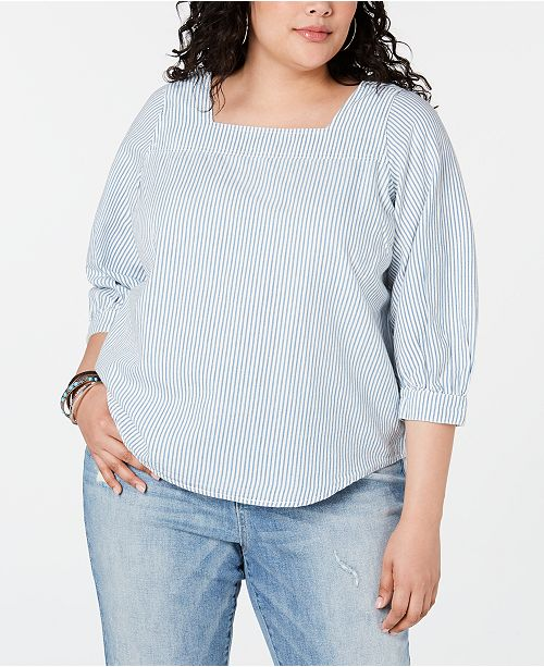 Lucky Brand Plus Size Cotton Striped Square-Neck Top