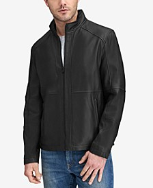 Men's Convertible Collar Leather Jacket