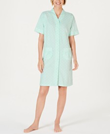 Miss Elaine Printed Short-Sleeve Stretch Terry Gripper Robe