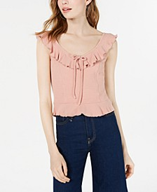 Juniors' Ruffle-Trimmed Textured Tank Top, Created for Macy's