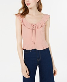 American Rag Juniors' Ruffle-Trimmed Textured Tank Top, Created for Macy's