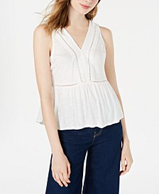 Juniors' Crochet-Trimmed Peplum Tank Top, Created for Macy's