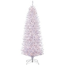 Puleo International 6.5 ft Pre-Lit White Pencil Franklin Fir Pencil Artificial Christmas Tree with 250 UL-Listed Clear Lights