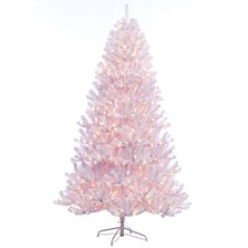 International 7.5 ft. Pre-lit Noble Fir White Artificial Christmas Tree 600 UL listed Clear Lights
