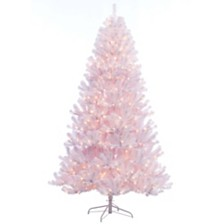 Puleo International 7.5 ft. Pre-lit Noble Fir White Artificial Christmas Tree 600 UL listed Clear Lights
