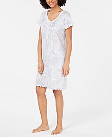 Lace-Trim Printed Knit Nightgown