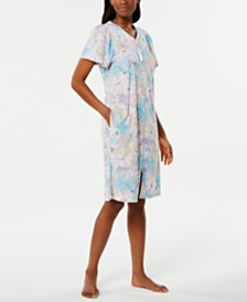 Miss Elaine Printed Micro-Terry Zip Robe
