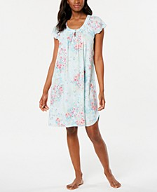 Smocked Floral-Print Knit Nightgown