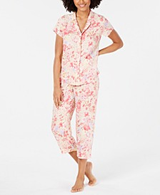Notch Collar Top and Cropped Pants Printed Pajama Set
