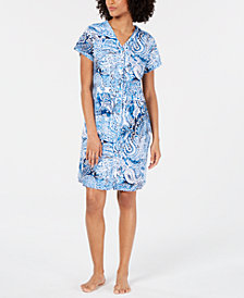 Miss Elaine Printed Knit Snap-Front Robe