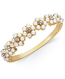 Gold-Tone Crystal & Imitation Pearl Flower Bangle Bracelet, Created for Macy's