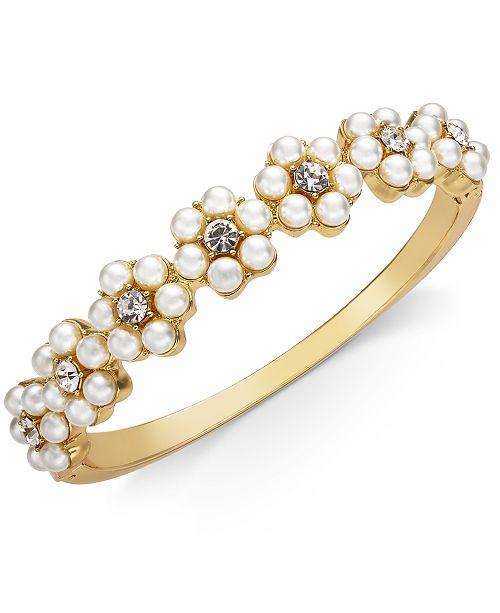 8a2de3b1e ... Charter Club Gold-Tone Crystal & Imitation Pearl Flower Bangle  Bracelet, Created for Macy's ...