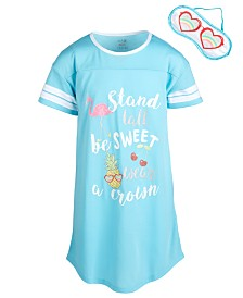 Max & Olivia Little & Big Girls Sweet-Print Nightgown & Eye Shade