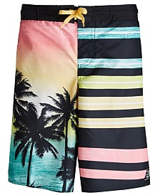 Laguna Big Boys Palm Tree Sunset Printed Swim Trunks