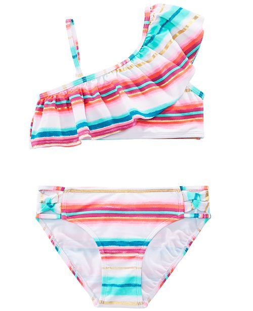 Summer Crush Big Girls 2-Pc. Striped Off-the-Shoulder Ruffle Bikini
